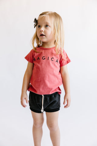 basic tee - magical on mineral red