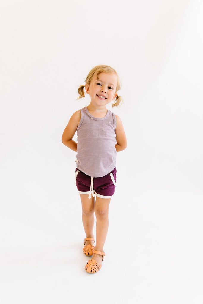 retro short in 'eggplant'