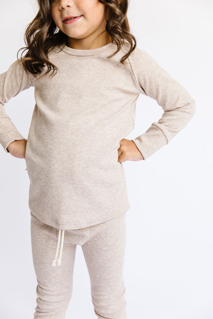 rib knit long sleeve tee - fawn