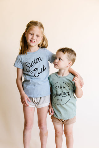 basic tee - swim club on dusty blue
