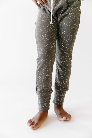 gusset pants in 'constellations' on faded black