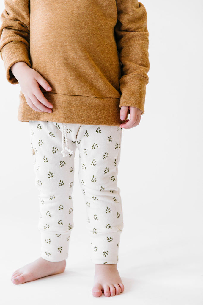 gusset pants - olive pine cones on natural
