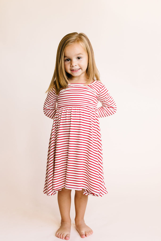long sleeve swing dress - peppermint stripe