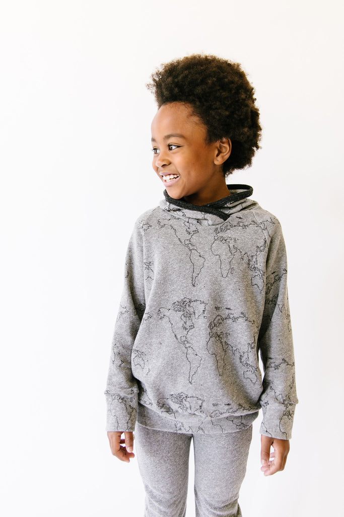 trademark raglan hoodie - maps on heather gray
