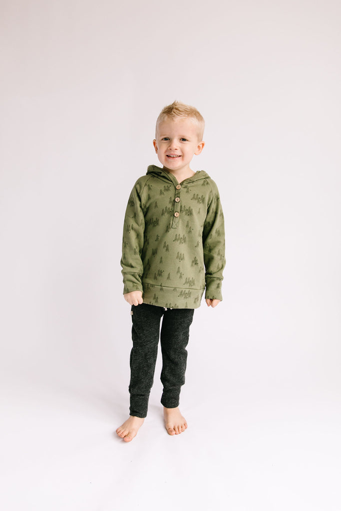 henley hoodie - trees on olive