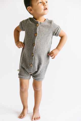 rolled sleeve romper - heather gray