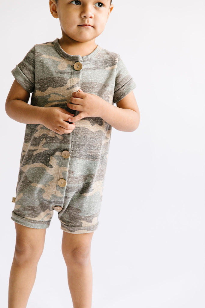 rolled sleeve romper in 'faded camo' [please read sizing note]