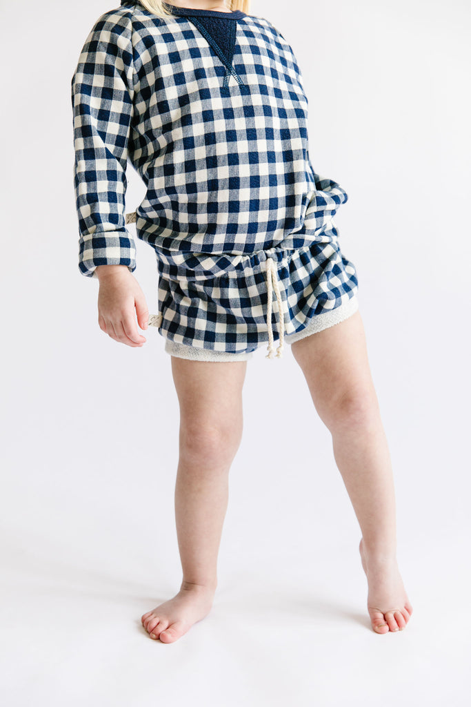 shorties - navy plaid