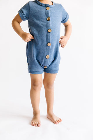 rolled sleeve romper - french blue