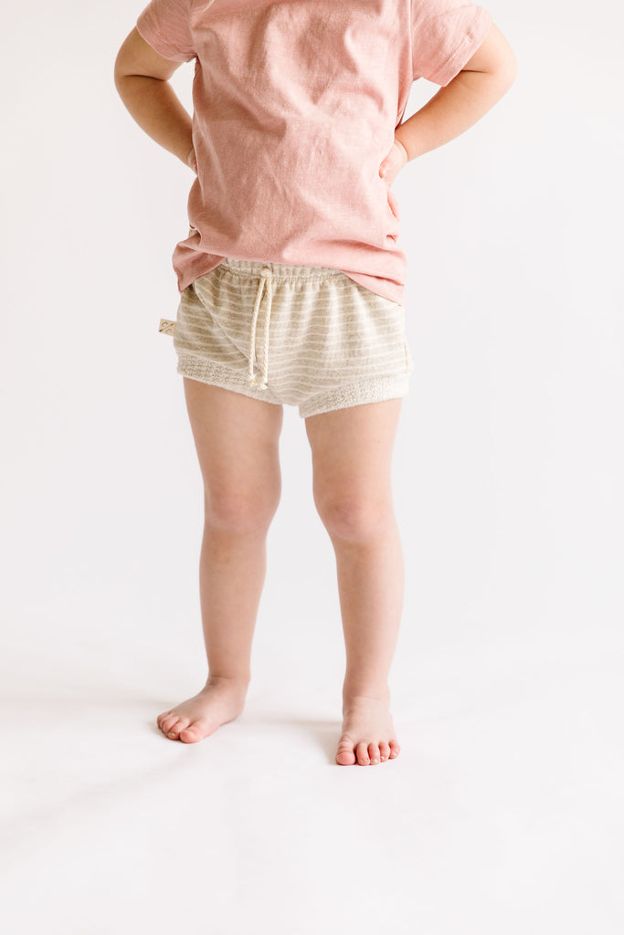 shorties in 'oatmeal stripe'