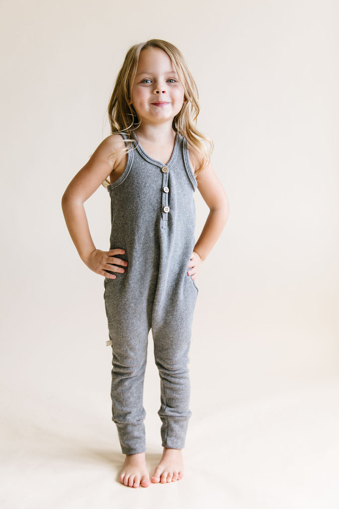 tank romper in 'heather gray'