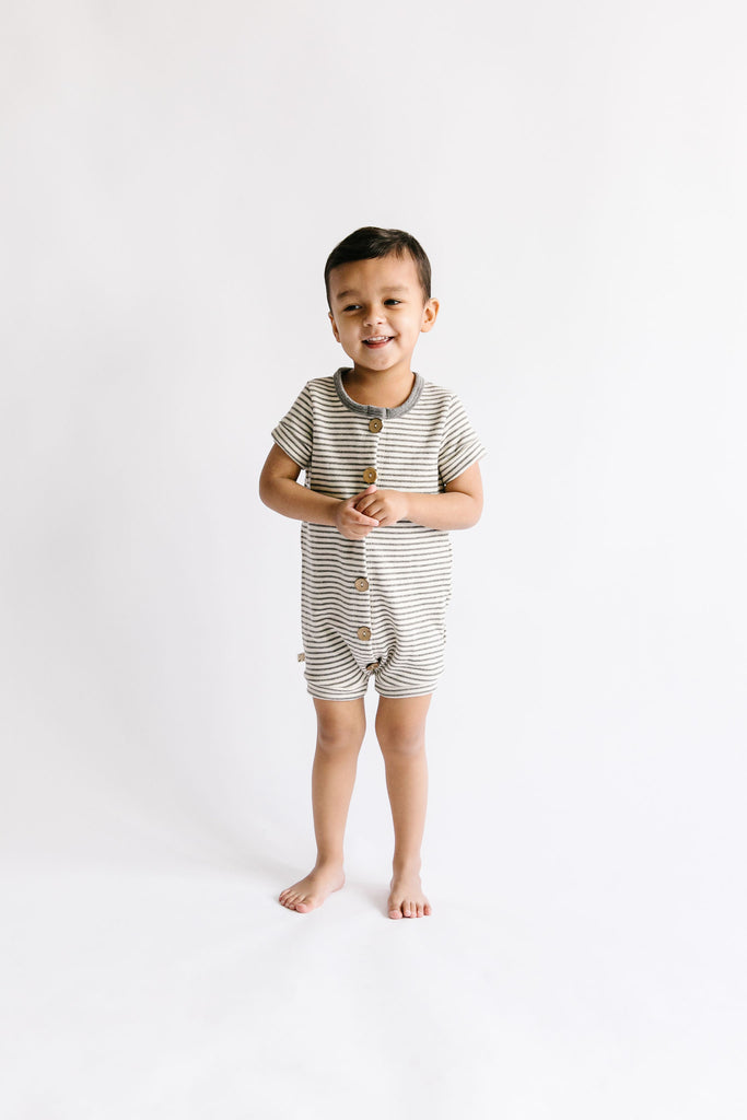 rolled sleeve romper in 'narrow gray stripe'