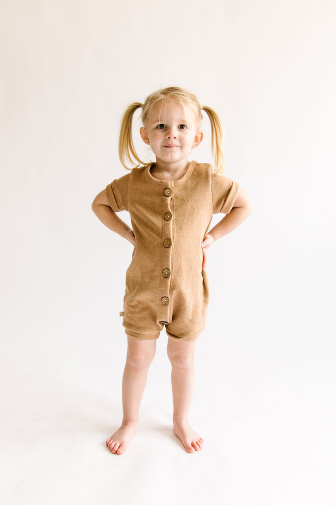 rolled sleeve romper - kraft