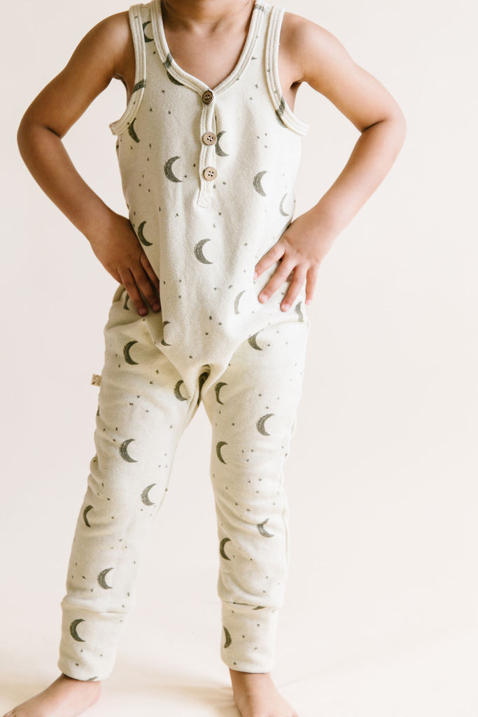 tank romper in 'lunar' on linen