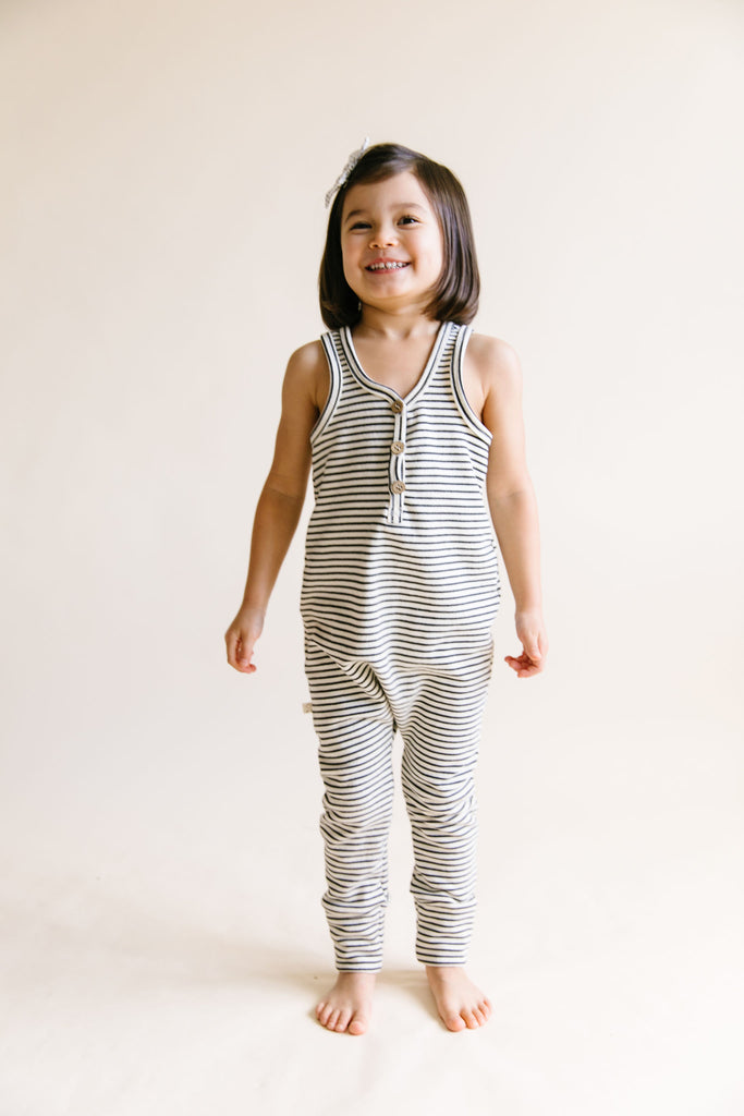 tank romper in 'narrow natural stripe'
