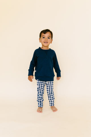 gusset pants in 'navy plaid'