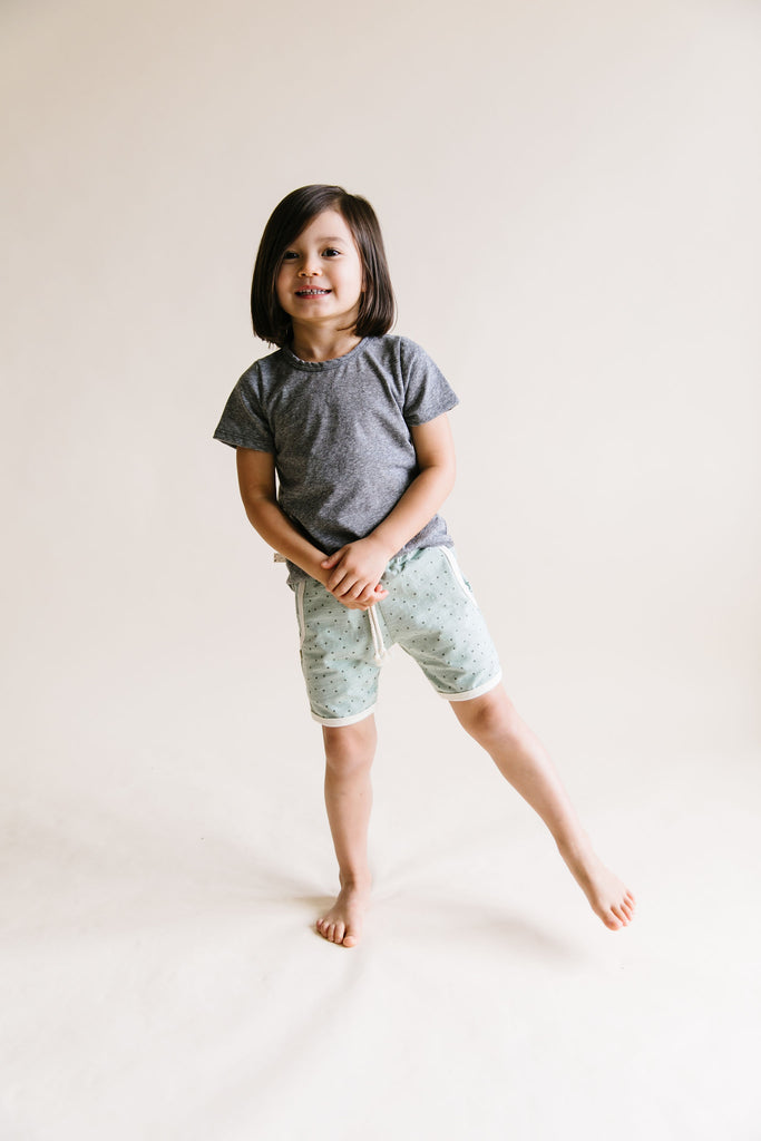 retro short in 'dots' on sea spray
