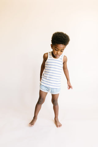 tank top - chambray breton stripe