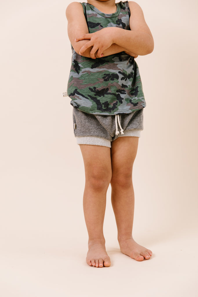 shorties in 'heather gray'