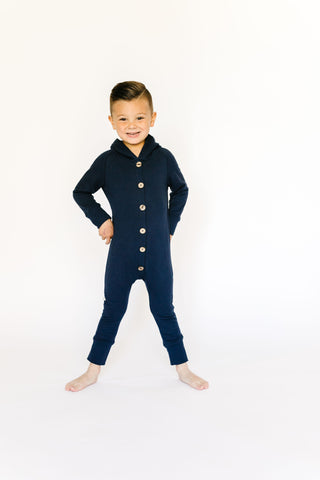 hooded romper in 'navy'