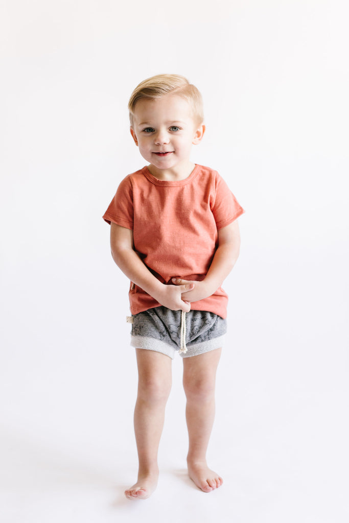 shorties in 'maps' on heather gray