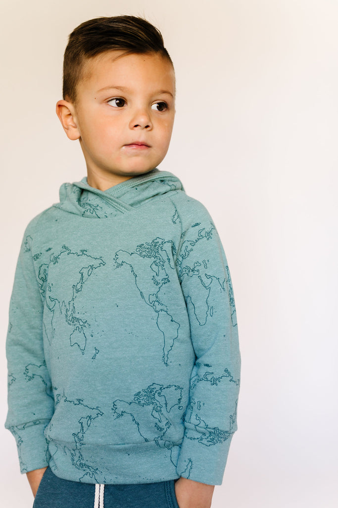 trademark raglan hoodie - maps on oil blue