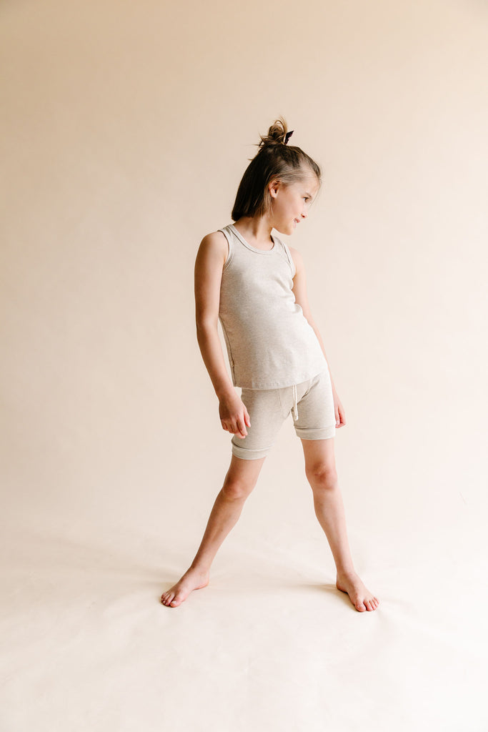 rib knit tank top - oatmeal