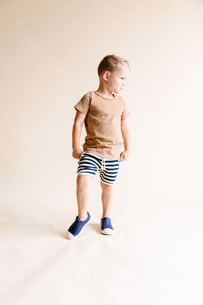 french terry retro short - navy and cream stripe
