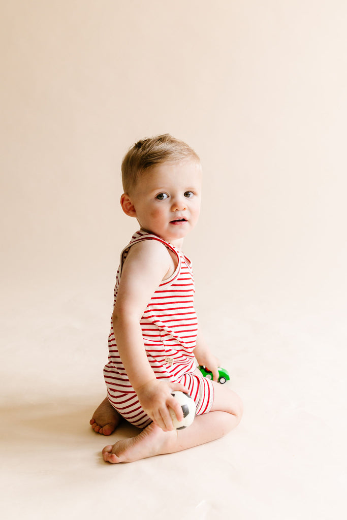 rib knit tank top - peppermint stripe