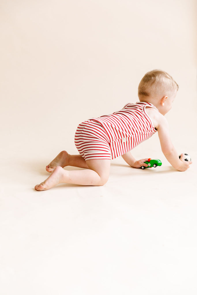 rib knit shorts - peppermint stripe