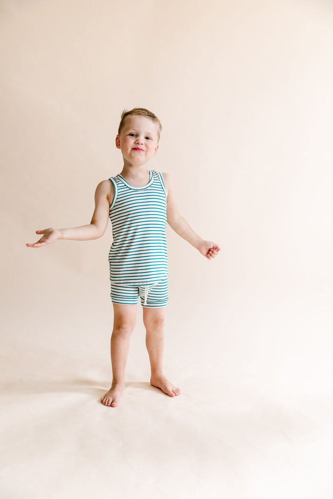 rib knit tank top - aqua stripe