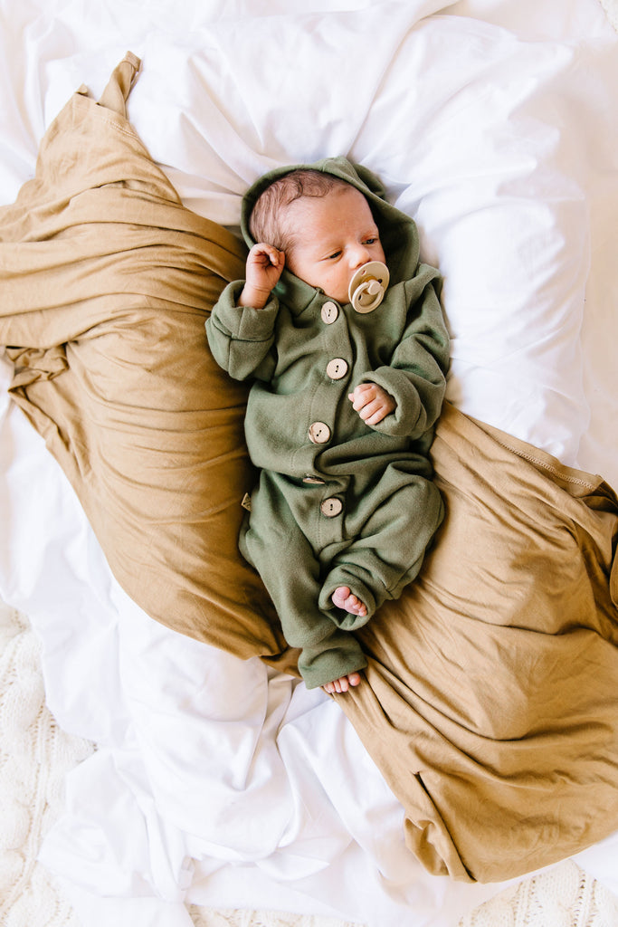 hooded romper - olive