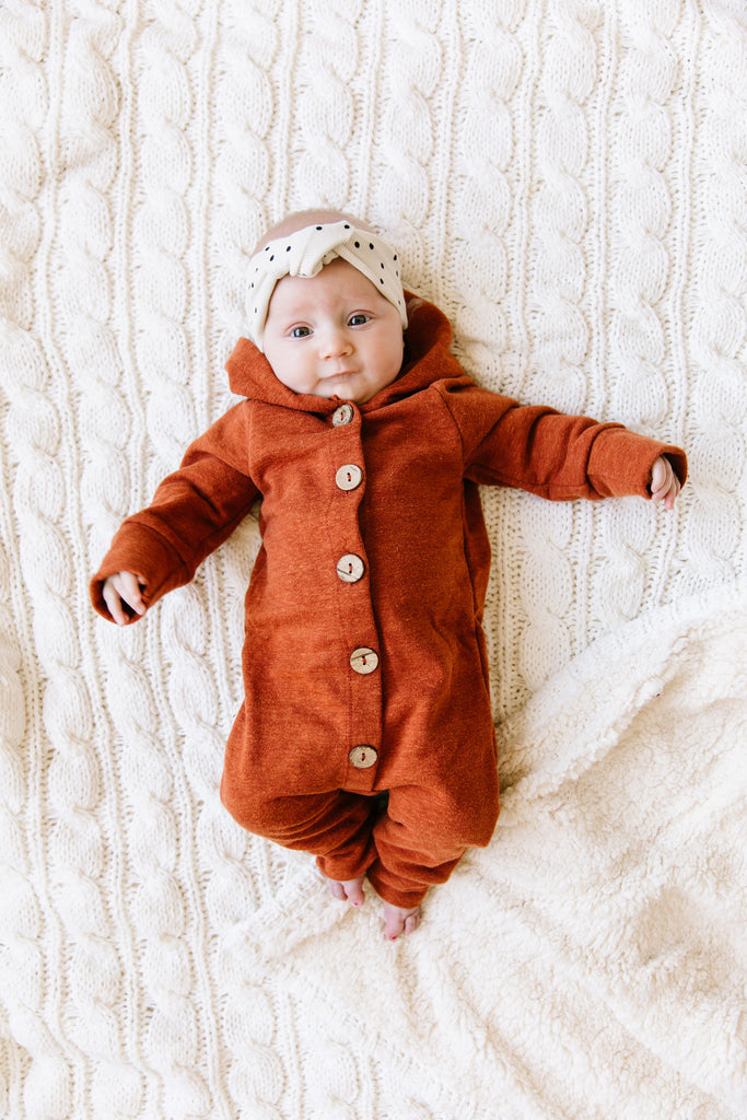 hooded romper - cinnamon