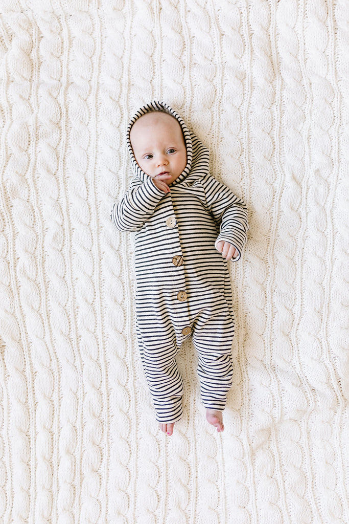 hooded romper - narrow natural stripe