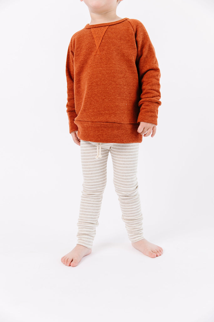 rib knit pant in 'oatmeal stripe'