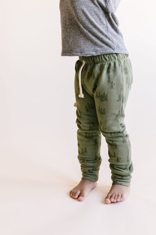 gusset pants in 'trees' on olive