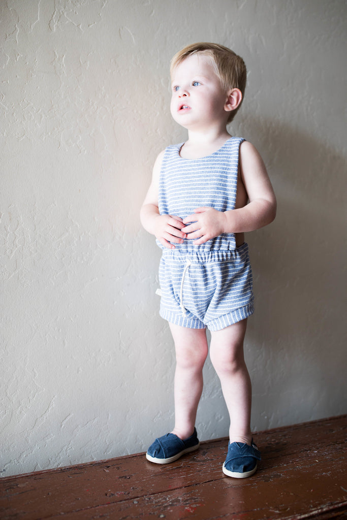 romper shortie in 'chambray stripe' [please read sizing note]