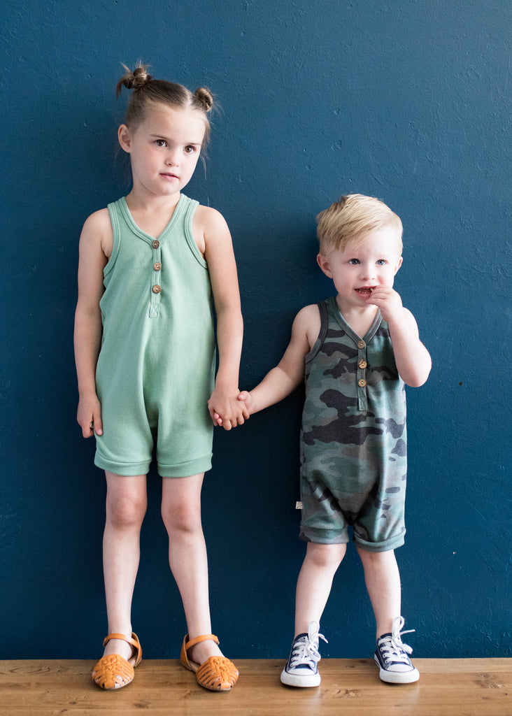 Short tank romper in 'spring green'