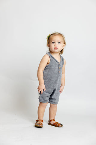short tank romper - athletic gray