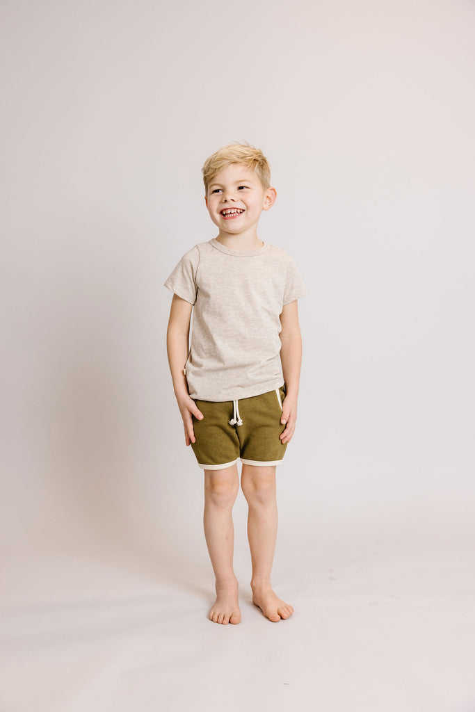 french terry retro short - moss