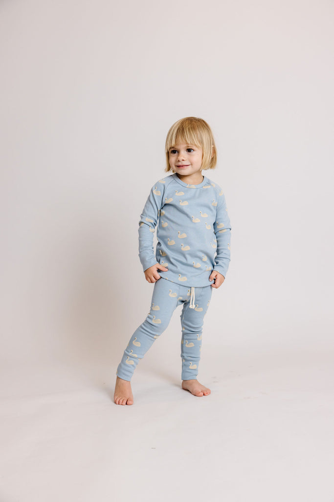rib knit pant - swans on dusty blue