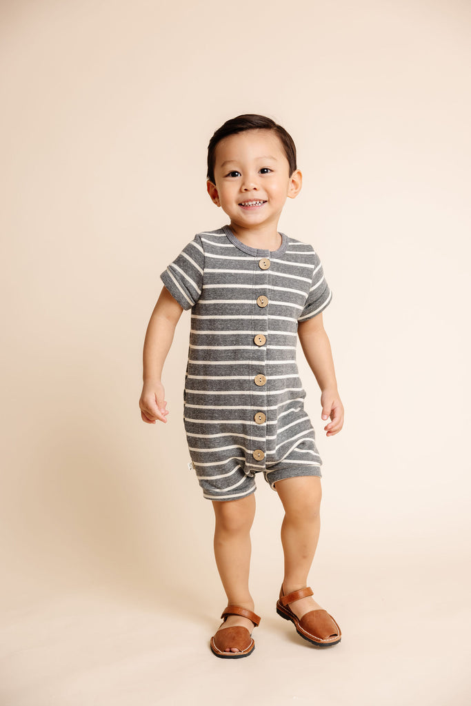 rolled sleeve romper - iron gray stripe
