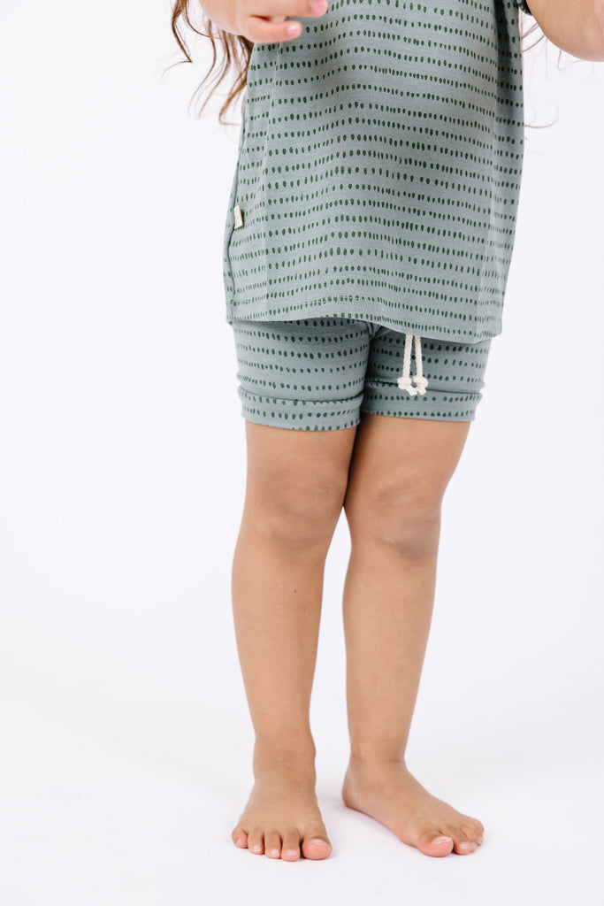 rib knit shorts - dash dot on sage
