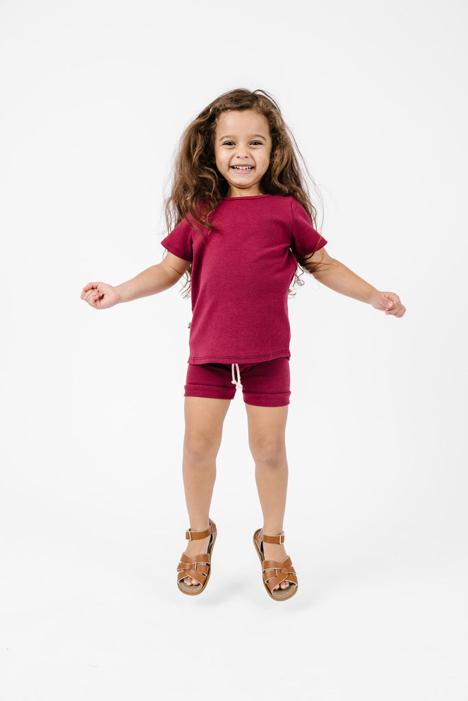 rib knit shorts - ruby