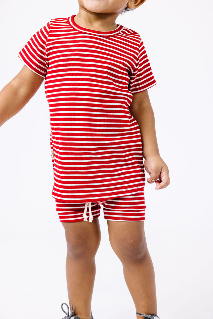 rib knit shorts - peppermint inverse stripe