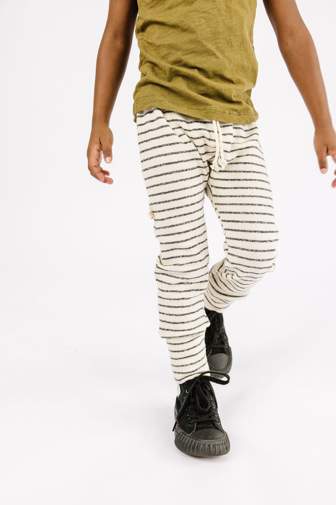 gusset pants - natural stripe