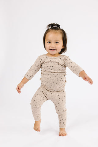 leggings - dots on fawn