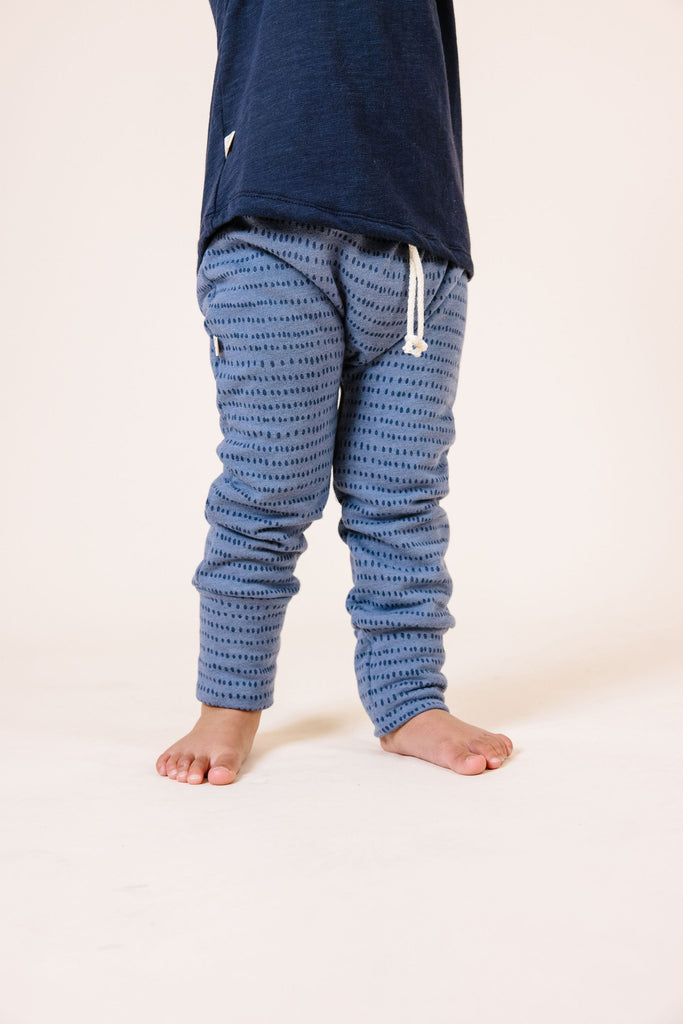 gusset pants - dash dot on steel blue