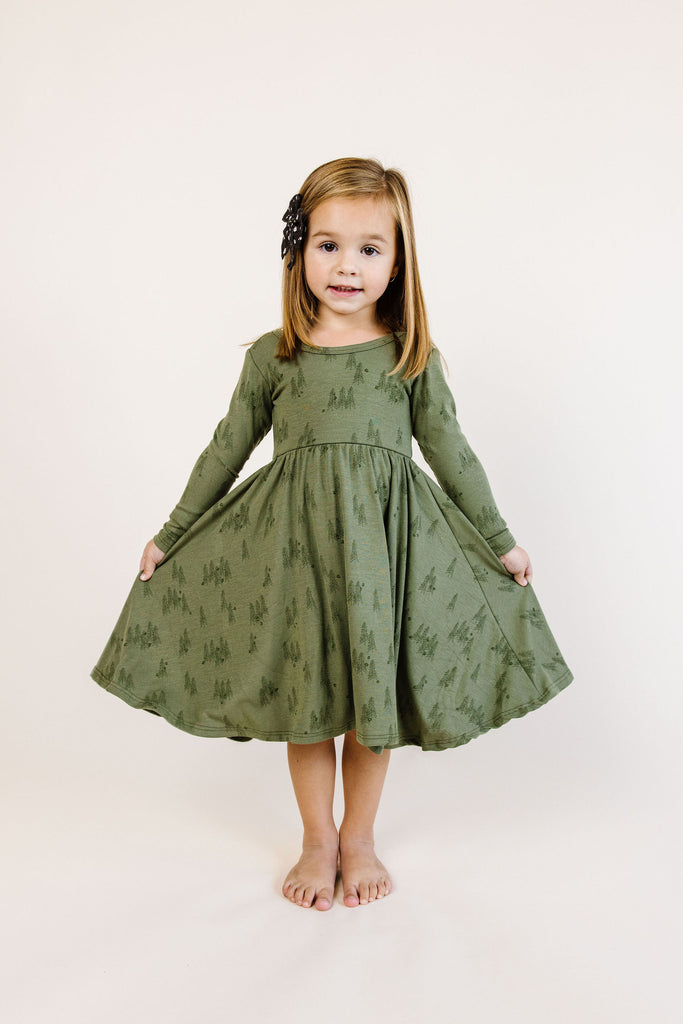 long sleeve swing dress - trees on olive