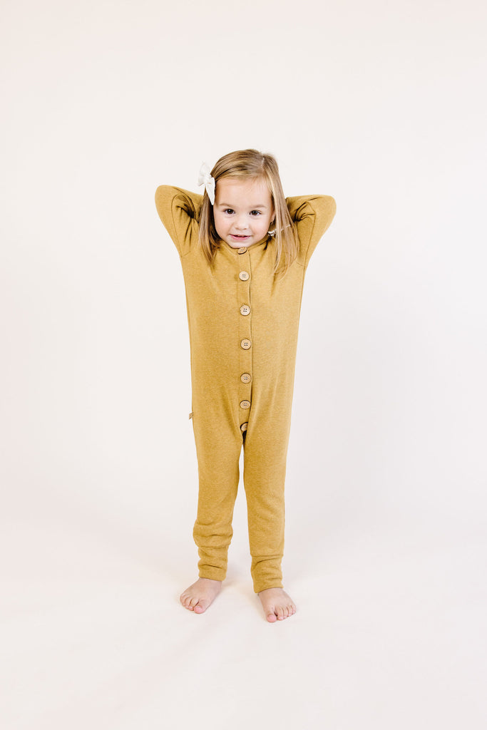 hooded romper - wheat